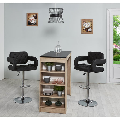 Tabouret de bar 22635NO - VIVI Noir - Lot de 2