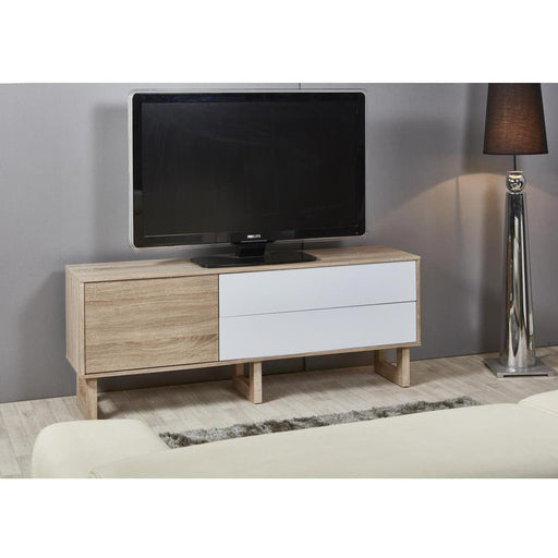 Meuble TV 29400BC - FLAM Beige & Blanc - Lot de 1