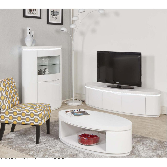 Meuble TV 10566BL - ELLIPSE Blanc - Lot de 1