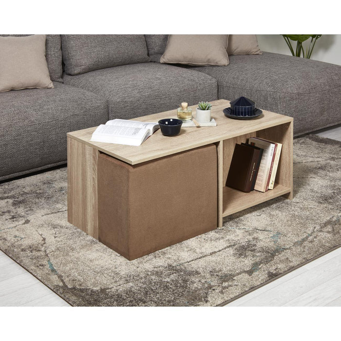 Ensemble Pouf + Table Basse 37620BS - Arthus Marron - Lot de 1