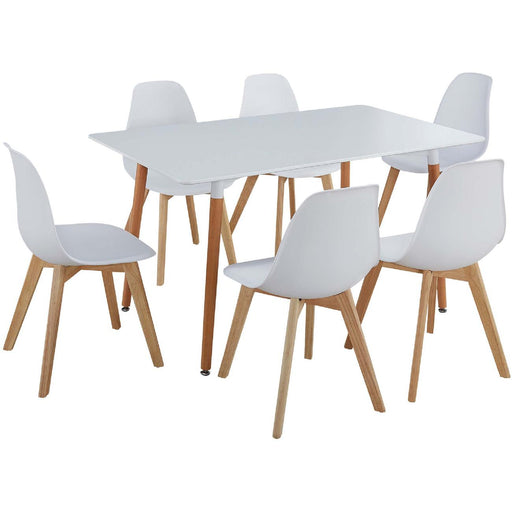 Ensemble Chaise + Table 16119BL - MARIO Blanc - Lot de 1