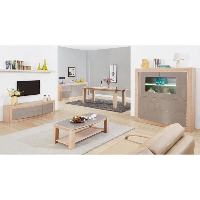 Meuble TV 10826NA - DOLBY Blanc & Taupe - Lot de 1