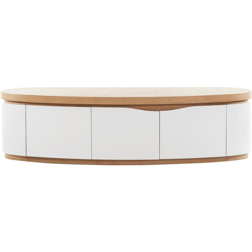 Meuble TV 10566CE - ELLIPSE Beige & Blanc - Lot de 1