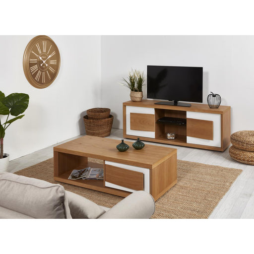 Meuble TV 10206CB - LIAGO Blanc & Marron - Lot de 1