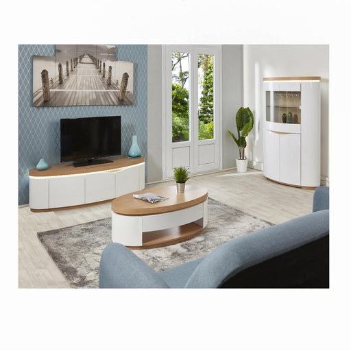 Table basse 10567CE - ELLIPSE Beige & Blanc - Lot de 1