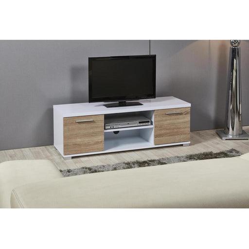 Meuble TV 29404BC - TEDDY Beige & Blanc - Lot de 1
