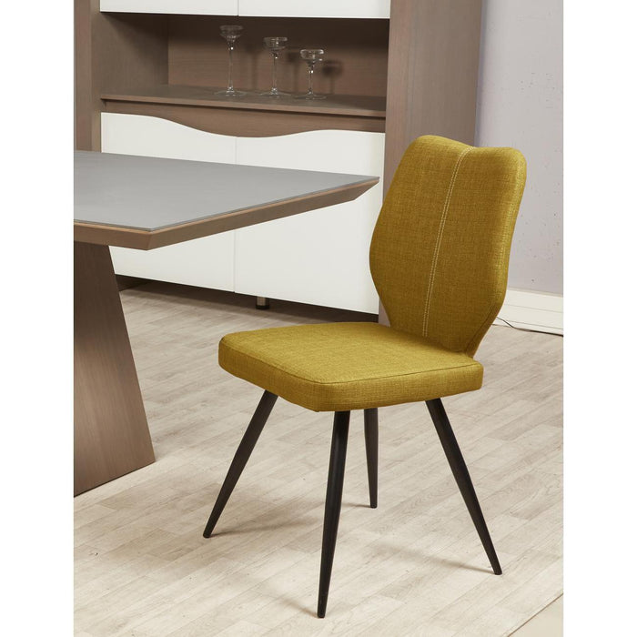 Chaise 52868VE - BARBARA Jaune Moutarde - Lot de 2