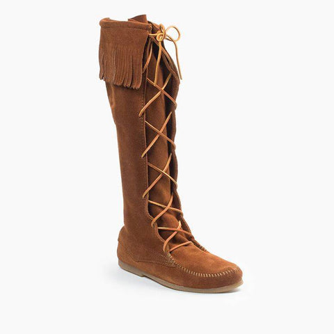 Front Laced Knee High Fringe Moccasin Boot