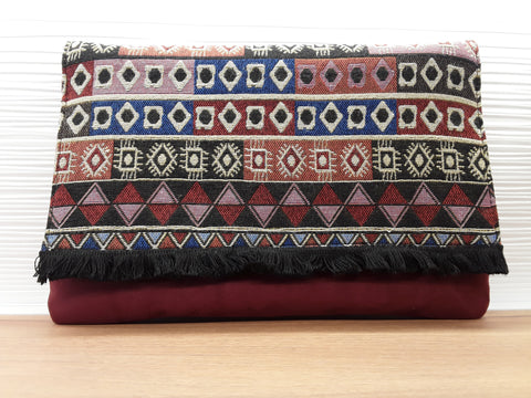 """Lima"" Suedeline Tribal Tapestry Clutch"