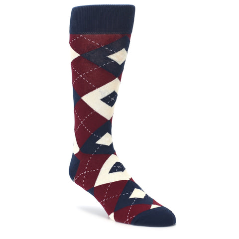 Argyle Socks - Burgundy & Navy