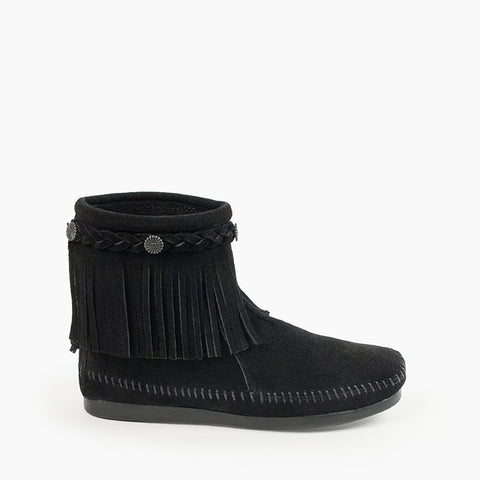 High Top Back Zip Moccasin Boot