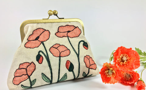 Poppy flower and seed heads purse bag