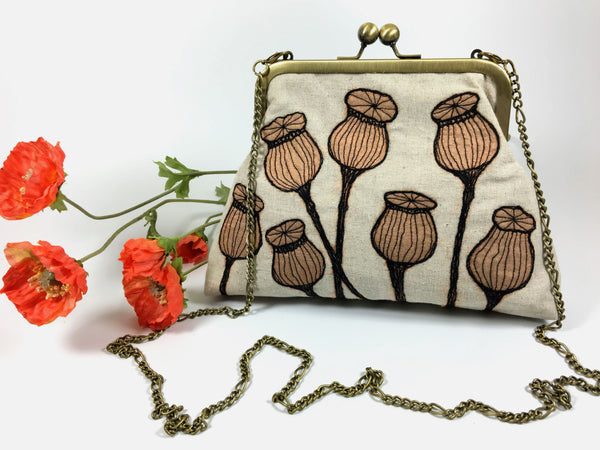 Free machined poppy seed heads clutch  & shoulder bag