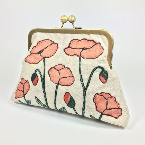 Red poppy flower embroidered clutch or shoulder bag
