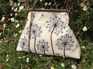 Embroidered dandelion flowers purse frame bag