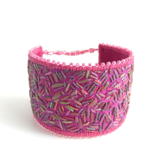 Hand dyed thread textile art cuff by Tors Duce