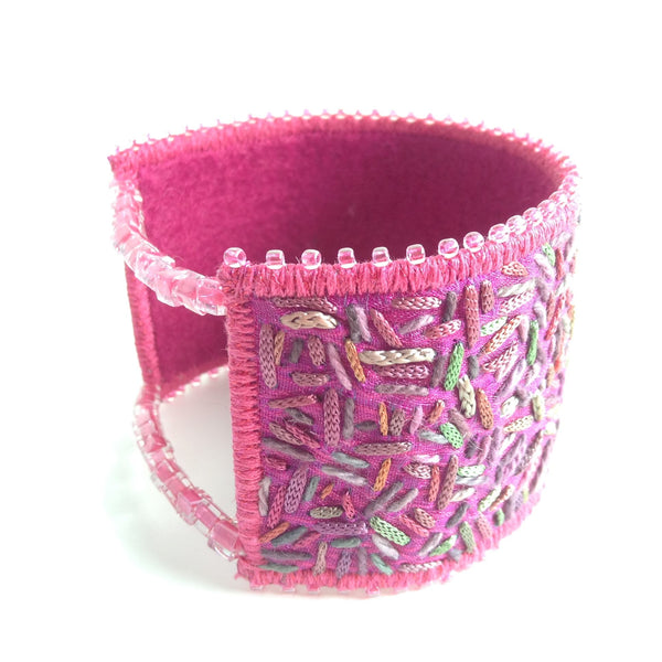Embroidered and beaded summer meadow cuff bracelet