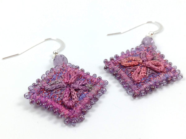 Hand dyed variegated thread textile art earrings
