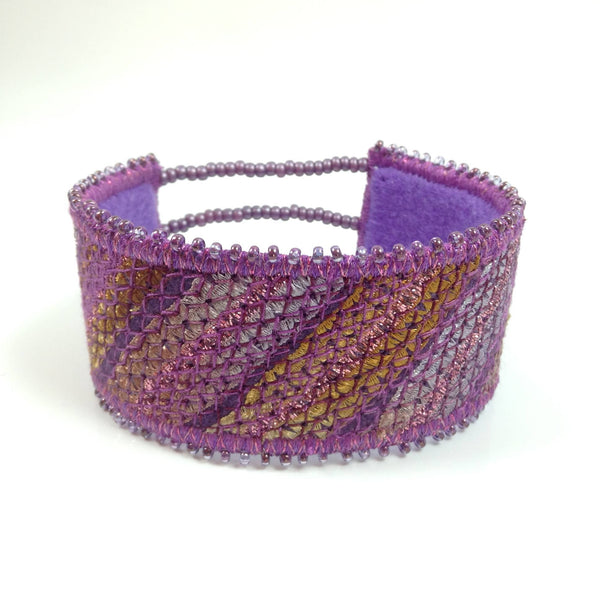 Striped embroidered cuff bracelet