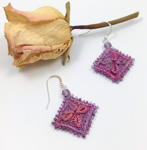 Hand embroidered flower earrings