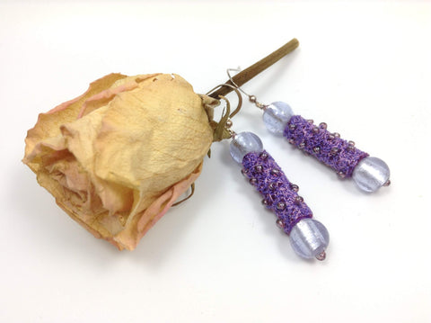 Mauve glass bead earrings with textile art beads