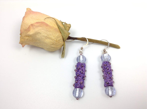 Handmade purple heather beaded drop earrings