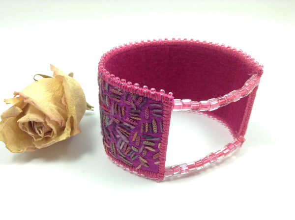 Felt lined beaded and random hand embroidered bangle