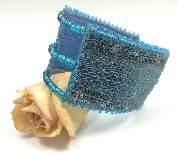 Machine embroidered fibre art designer cuff bracelet