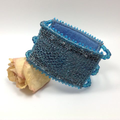 Sapphire blue embroidered & beaded cuff bracelet by Tors Duce