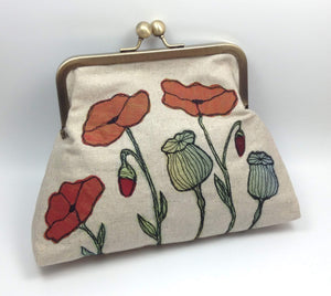 Embroidered poppy flower bag with linen and organza by Tors Duce