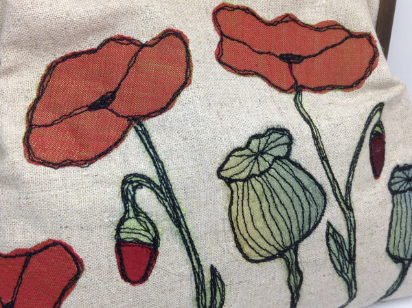 Detail of free machine embroidered poppy flowers and poppy seed heads