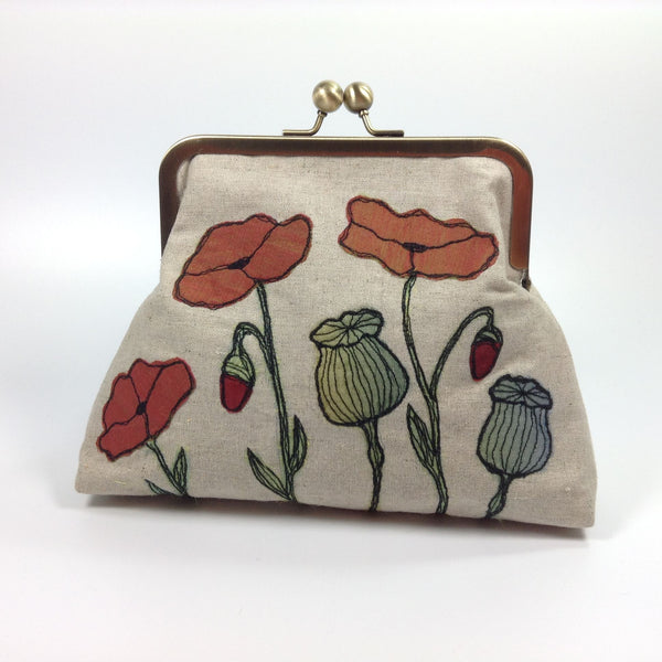 Fibre art poppies on a frame purse bag