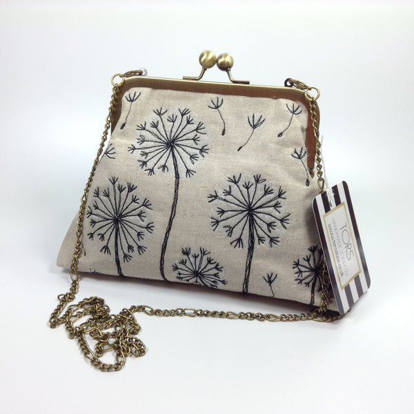 Embroidered dandelions clutch or shoulder frame purse bag by Tors Duce