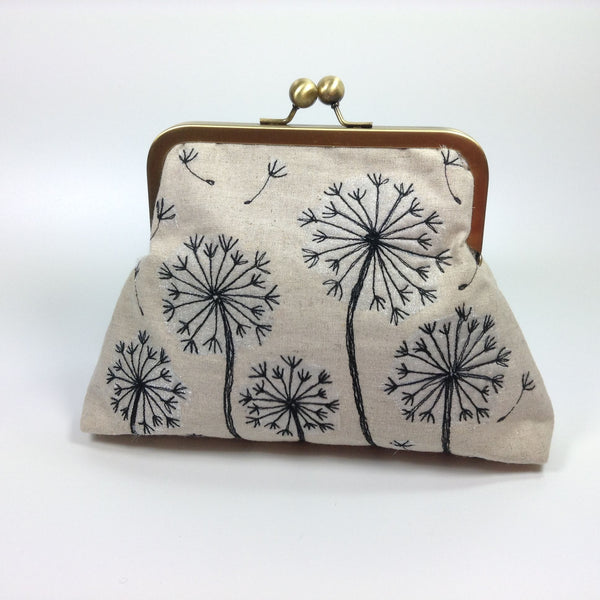 Embroidered linen free machine stitched frame purse bag