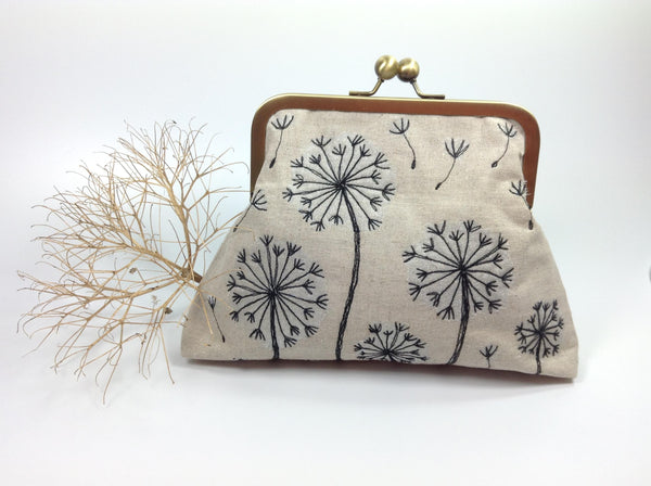 Dandelion dreams linen and free machine fibre art bag
