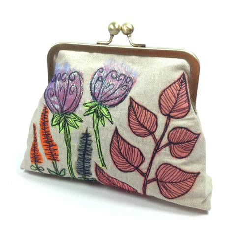 Funky flower embroidered frame purse clutch and shoulder bag