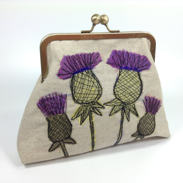 Embroidered thistle frame clutch or shoulder bag