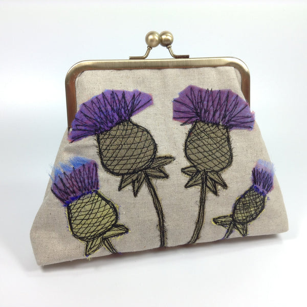 Mauve and purple thistle flowers designer bag