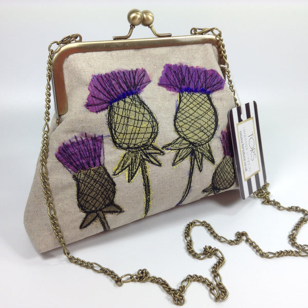 Brass chain on shoulder or clutch textile art Scottish thistle bag