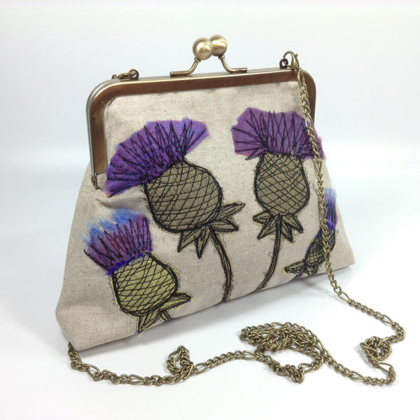 Artisan silk and linen thistle flower purse bag