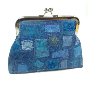 Abstract design artisan denim contemporary purse bag by textile artist Tors Duce