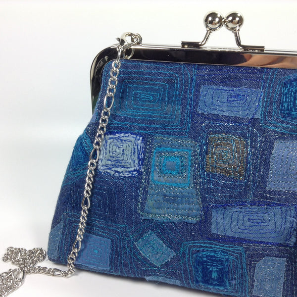 Upcycled denim jeans eco-friendly textile art bag