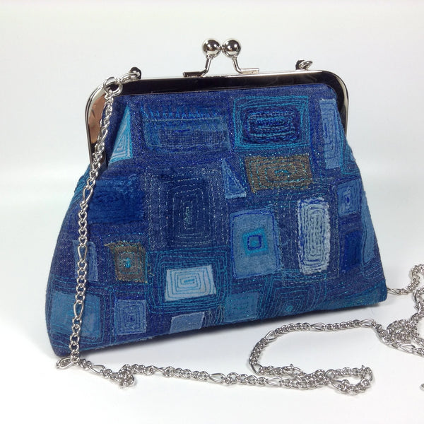 Denim embroidered textile art clutch or shoulder bag