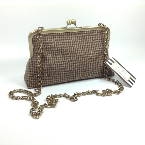Brown checked tweed wool shoulder or clutch bag