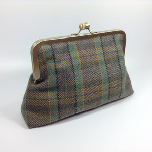 Scottish wool tweed frame purse bag