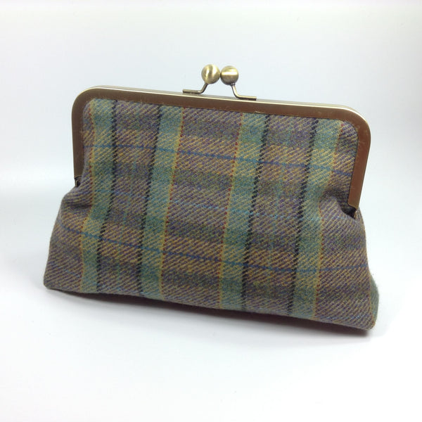 Heather mauve and green tweed wool bag