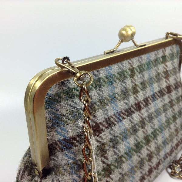Blue & brown checked wool clutch or shoulder frame purse bag