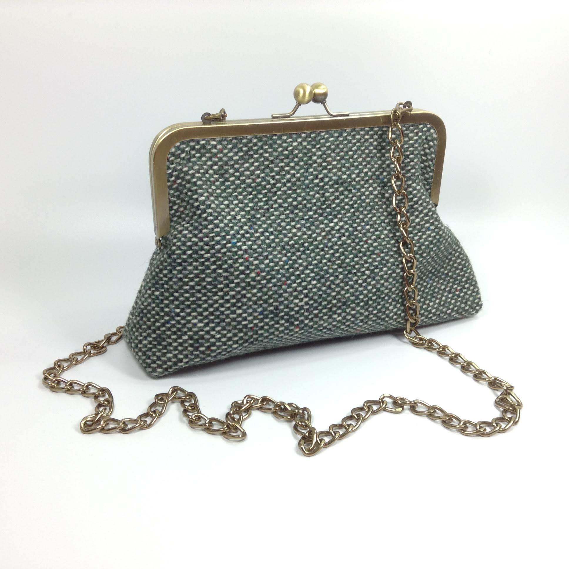 Green tweed wool shoulder or clutch bag