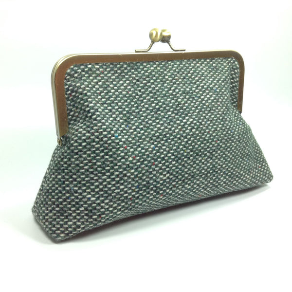 Clutch or shoulder bag in British tweed wool fabric