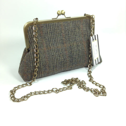 Brown tweed wool frame purse bag